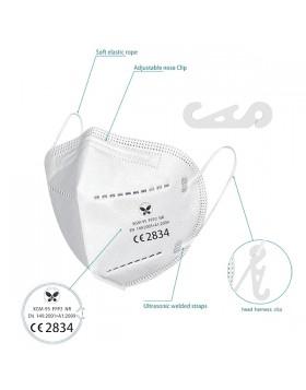 Μάσκα υψηλής προστασίας FFP2 antifog, με κλιπ, λευκή 50τμχ